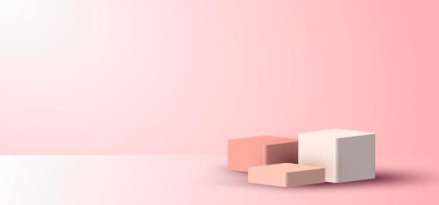 I cubi rosa vuoti di scena minima realistica 3d vengono visualizzati su sfondo rosa tenue con illuminazione e spazio per il testo. è possibile utilizzare il design per la presentazione del prodotto, il mockup, ecc. illustrazione vettoriale