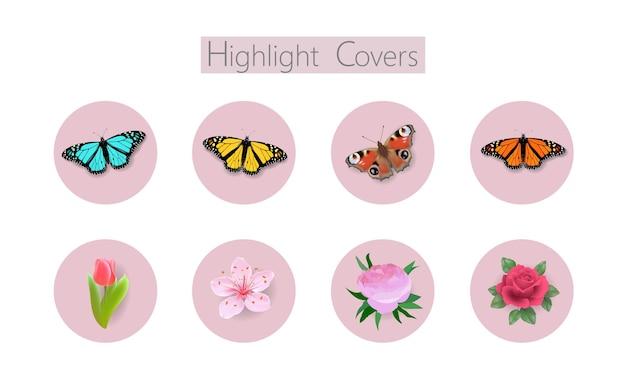 Copertura dei social media 3d realistica monarch danaida farfalla