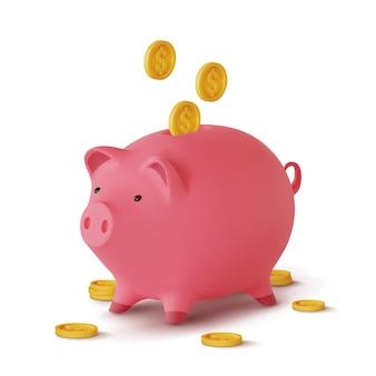 Salvadanaio realistico 3d sotto forma di maiale e monete che cadono, isolato su fondo bianco,