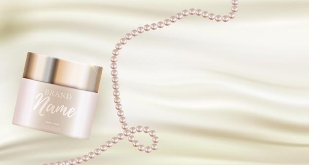 Prodotto cosmetico di bellezza naturale realistico 3d per la cura del viso o del corpo su sfondo bokeh lucido