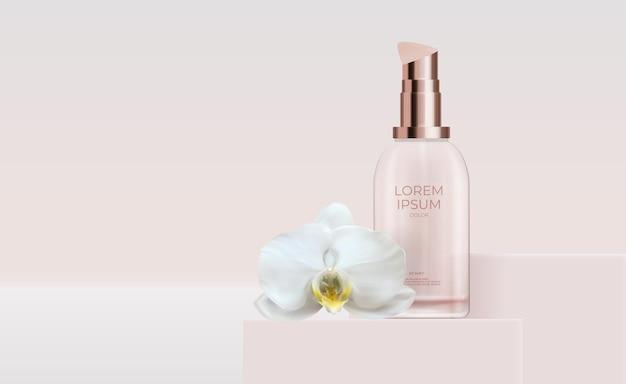 Prodotto cosmetico naturale realistico 3d per la cura del viso con fiore di orchidea.