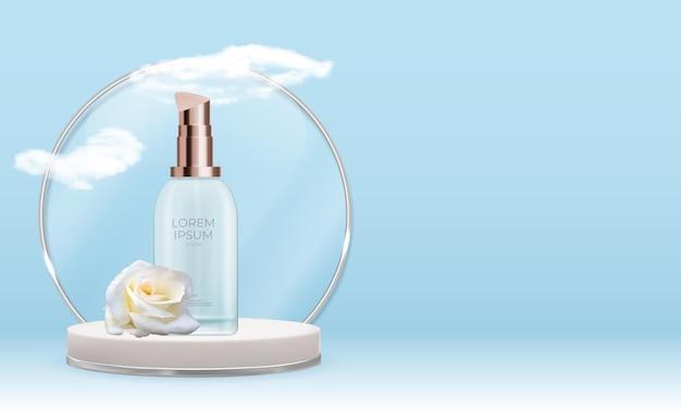 Prodotto cosmetico naturale realistico 3d per la cura del viso con fiore di rosa e podio.