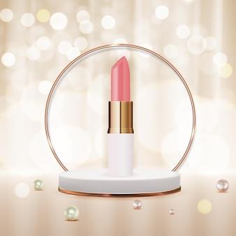 Rossetto naturale realistico 3d sul modello di progettazione del podio del prodotto cosmetico di moda