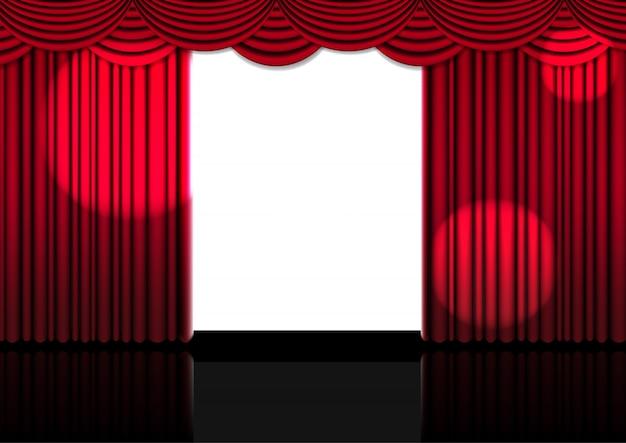 Tenda rossa aperta realistica 3d sul palco o cinema per spettacolo