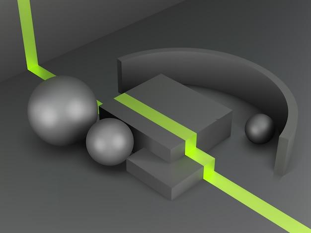 Piedistallo realistico 3d su sfondo nero con linea di accento verde, podio metallico nero con sfere e scatole, concetto minimo astratto, spazio vuoto, design pulito, minimalista di lusso