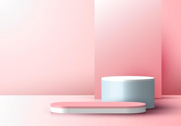 Sfondo di scena minima con display rosa realistico 3d con sfondo rettangolare sulla vetrina del palco del piedistallo del podio per la bellezza cosmetica del prodotto. illustrazione vettoriale