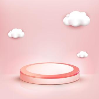 Podio rosa realistico 3d e sfondo carino nuvola, vetrina per prodotti cosmetici o di bellezza