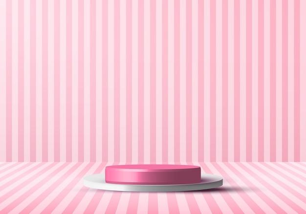 Fase di studio podio rendering 3d rosa e bianco realistico con linee verticali