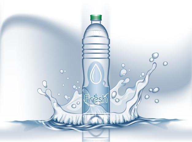 Bottiglia di plastica realistica 3d con acqua frizzante