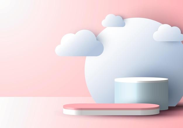 Display del podio 3d realistico con stile di taglio della carta nuvola