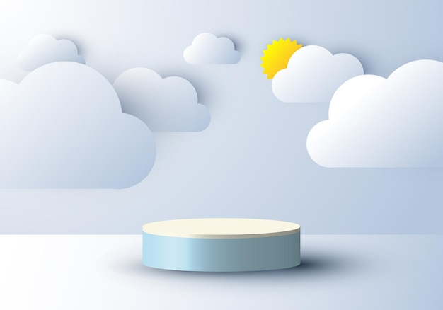 Display del podio 3d realistico con nuvole e sole