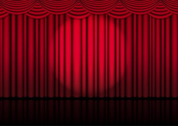 Tenda rossa realistica 3d sul palco o cinema per spettacolo con riflettori, concerti o presentazione con illustrazione di riflettori