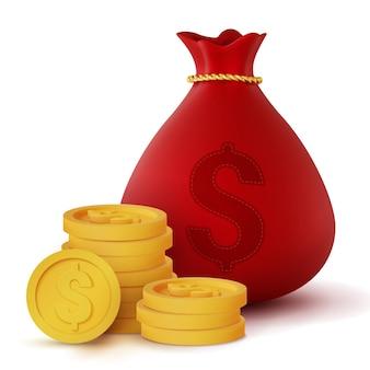Borsa e monete rosse realistiche dei soldi 3d isolate su bianco