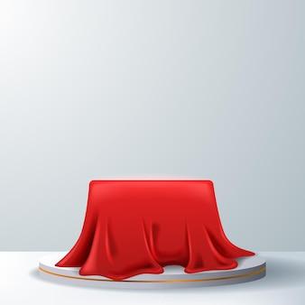 Espositore da podio con piedistallo in raso di seta rosso realistico 3d. lusso reale lusso elegante. sfondo bianco