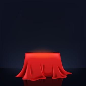 Esposizione del prodotto del piedistallo del podio della scatola di copertura del raso di seta rossa realistica 3d con la riflessione. lusso reale lusso elegante. sfondo scuro