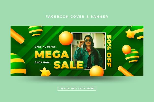 Copertina facebook di vendita realistica 3d con foto