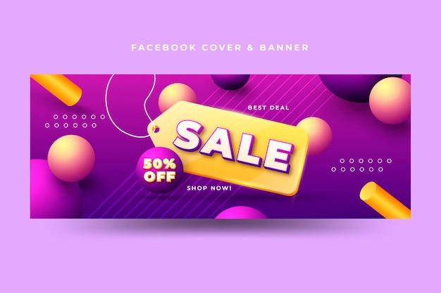 Copertina facebook di vendita realistica 3d
