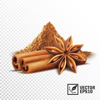 Insieme realistico 3d di bastoncini di cannella, stelle dell'anice e un mucchio di cannella