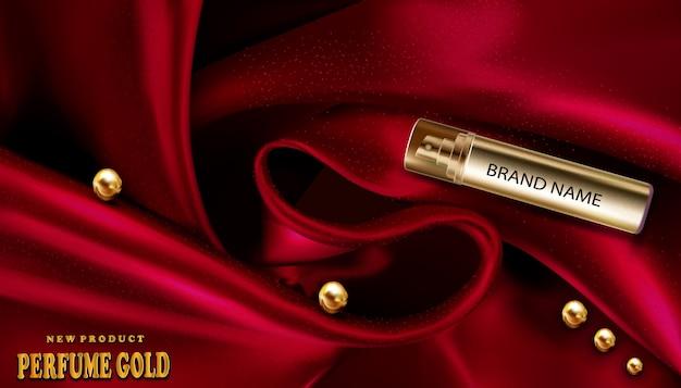 Modello realistico 3d dell'oro della bottiglia di profumo su seta rossa