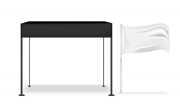 Cabina pop realistica dell'esposizione della tenda 3d per la mostra di promozione di vendita di vendita del negozio con l'illustrazione del fondo del modello della bandiera e metallica