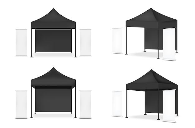 Cabina di pop dell'esposizione realistica della tenda 3d con l'insegna da vendere l'illustrazione del fondo di mostra di promozione di vendita Vettore Premium