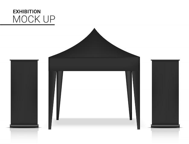 Cabina realistica del chiosco della tenda 3d con l'insegna pop per l'illustrazione di promozione di vendita di vendita. concept design di eventi e mostre.