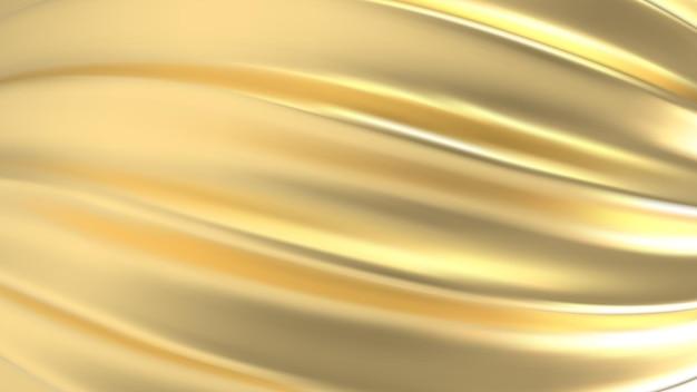 Tessuto oro trama realistica 3d, seta dorata, lamina