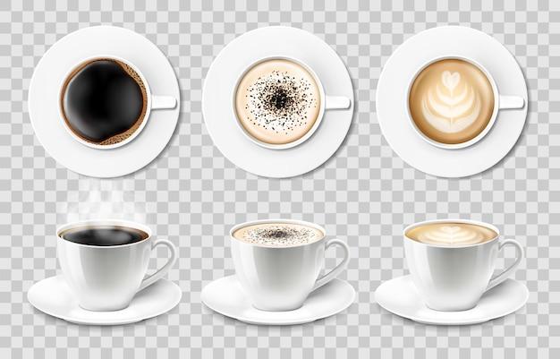 Tazze da caffè in ceramica bianca isolate vettore realistico 3d con piattino, vista dall'alto e laterale, cappuccino, americano, caffè espresso, moka, latte, cacao. set di tazzine da caffè o mug su sfondo trasparente