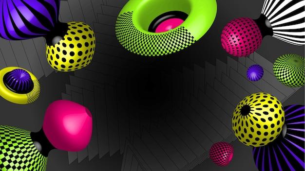 Oggetti vettoriali realistici 3d. forme di tendenza moderne e luminose.