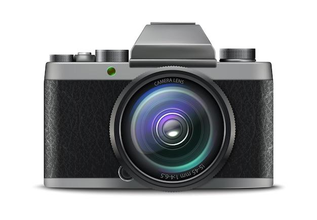 Icona della macchina fotografica della foto di vettore realistico 3d isolata su fondo bianco white