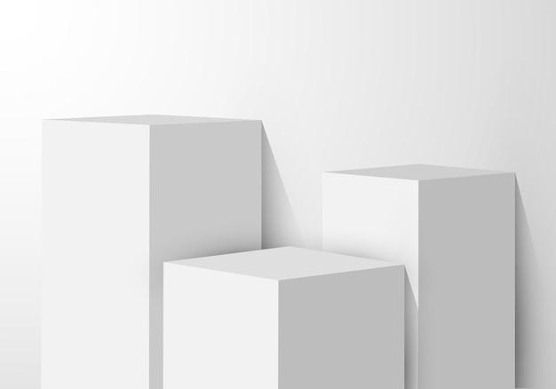 Scatola rettangolare con piedistallo bianco realistico 3d.