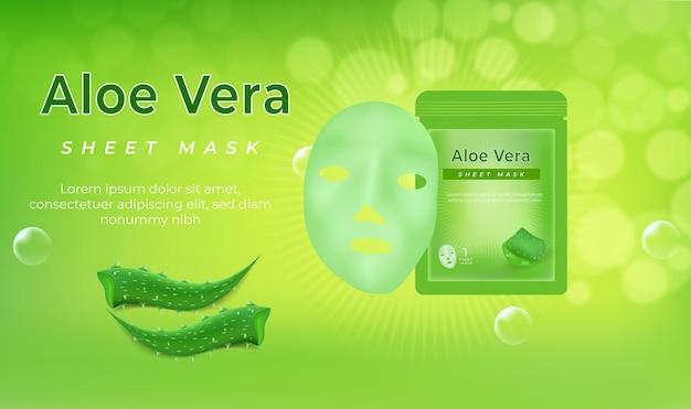 Maschera cosmetica facciale realistica in foglio bianco 3d con aloe vera.