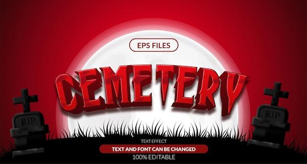 Effetto di testo modificabile halloween cimitero cimitero rosso 3d. file vettoriale eps. paesaggio notturno spaventoso
