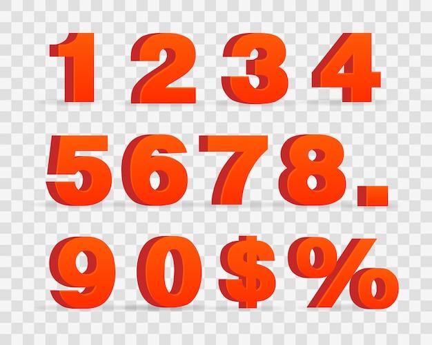 Numeri metallici rossi 3d
