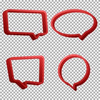Insieme rosso della bolla di discorso 3d