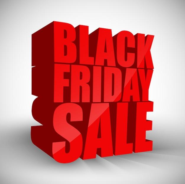 Testo rosso 3d fondo isolato vendita nera di venerdì