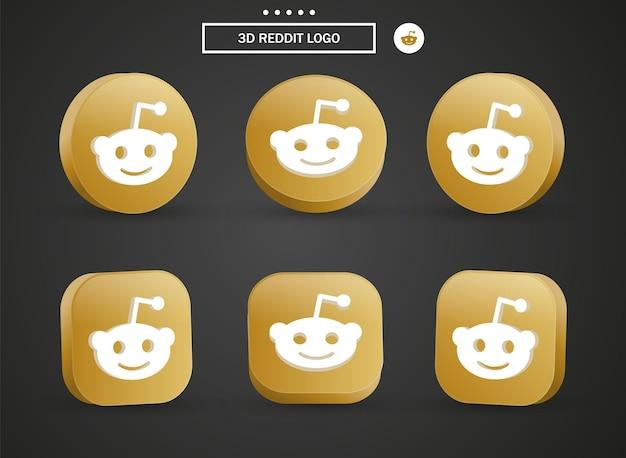 Icona del logo reddit 3d nel moderno cerchio dorato e quadrato per i loghi delle icone dei social media