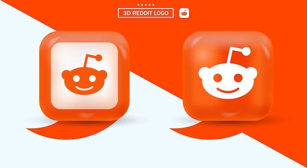 Logo 3d reddit in stile moderno per le icone dei social media - quadrato arancione