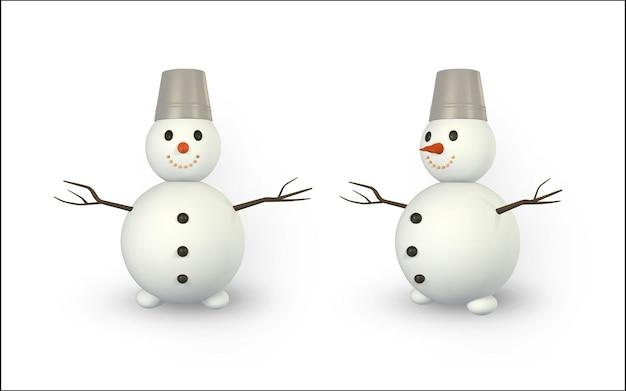 Rendering 3d e disegno con mesh pupazzo di neve. pupazzo di neve con ombra isolato su sfondo bianco. illustrazione vettoriale.