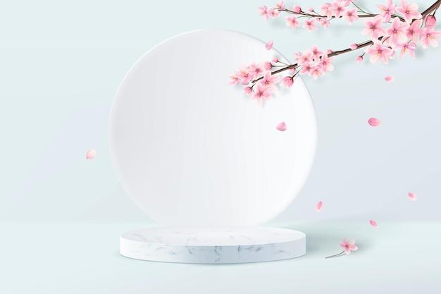 3d rendono il design minimalista del piedistallo in marmo con foglie rosa sakura su sfondo blu chiaro