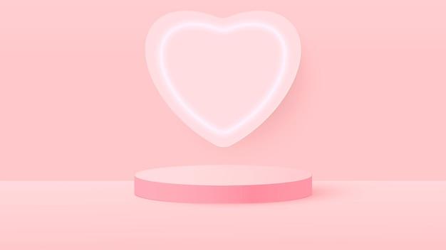 Rendering 3d di rosa amore san valentino illustrazione fase pastello