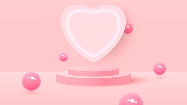 Rendering 3d di rosa amore san valentino sfondo fasi pastello o texture. podio o piedistallo pastello luminoso