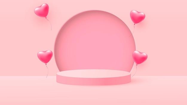 Rendering 3d di fasi pastello rosa amore san valentino