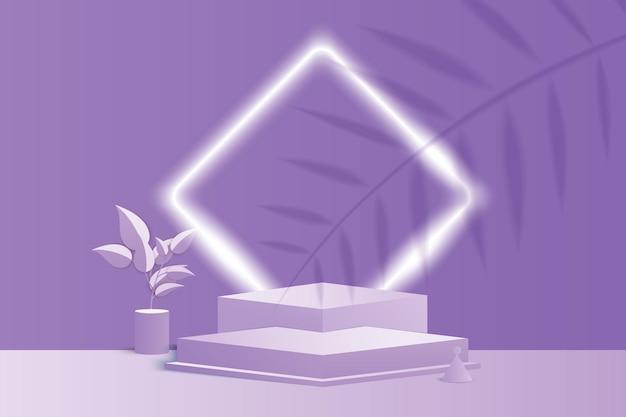Rendering 3d di forme geometriche astratte viola. podio o piedistallo pastello luminoso