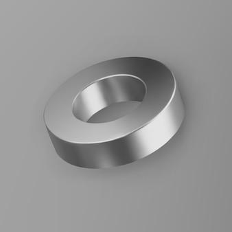3d rendono il tubo d'argento di forma geometrica con le ombre isolate su fondo grigio. primitivo realistico lucido metallo. figura decorativa astratta di vettore per il design alla moda.