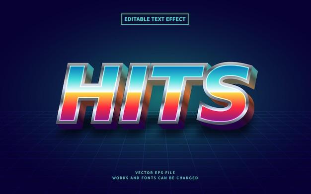 Effetto di testo 3d retro 80s hits