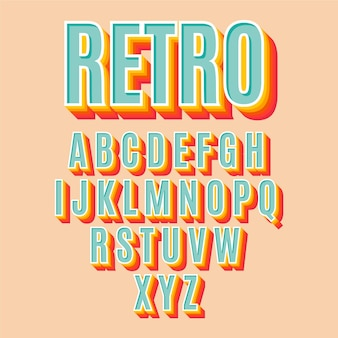 Raccolta di alfabeto retrò 3d