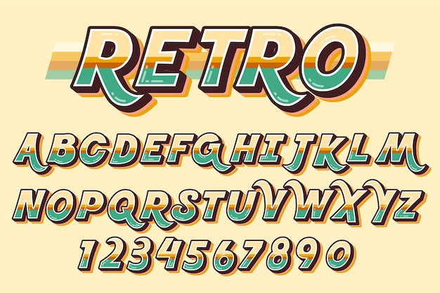3d concetto retrò alfabeto
