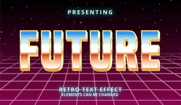 Effetto di testo modificabile futuristico 3d retrowave