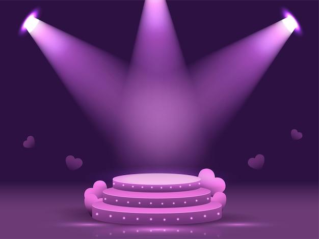 Fase rotonda del podio 3d in raggi di riflettori su sfondo viola